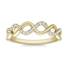 1/6 CTW Round Caydia Lab Grown Diamond Twist Fashion Band Ring 14K Yellow Gold, SIZE 7.0 Stone Color F