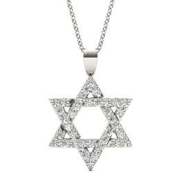 1/3 CTW Round Caydia Lab Grown Diamond Star of David Pendant Necklace 14K White Gold