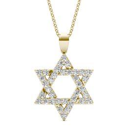 1/3 CTW Round Caydia Lab Grown Diamond Star of David Pendant Necklace 14K Yellow Gold