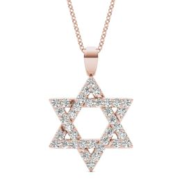 1/3 CTW Round Caydia Lab Grown Diamond Star of David Pendant Necklace 14K Rose Gold