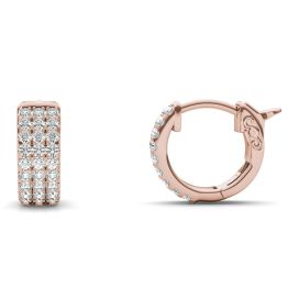 1/2 CTW Round Caydia Lab Grown Diamond Three Row Huggie Hoop Earrings 14K Rose Gold