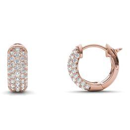 7/8 CTW Round Caydia Lab Grown Diamond Five Row Huggie Hoop Earrings 14K Rose Gold