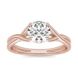 1 CTW Round Caydia Lab Grown Diamond Interlaced Solitaire Engagement Ring 14K Rose Gold, SIZE 7.0 Stone Color E