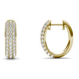 1 CTW Round Caydia Lab Grown Diamond Three Row Pave Hoop Earrings 14K Yellow Gold