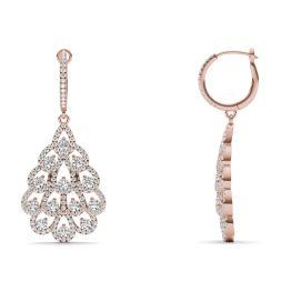 1 3/4 CTW Round Caydia Lab Grown Diamond Fan Drop Earrings 14K Rose Gold