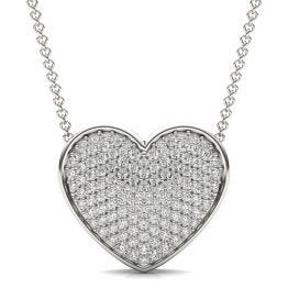 7/8 CTW Round Caydia Lab Grown Diamond Signature Pave Heart Necklace 18K White Gold