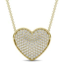 7/8 CTW Round Caydia Lab Grown Diamond Signature Pave Heart Necklace 18K Yellow Gold