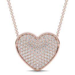 7/8 CTW Round Caydia Lab Grown Diamond Signature Pave Heart Necklace 18K Rose Gold