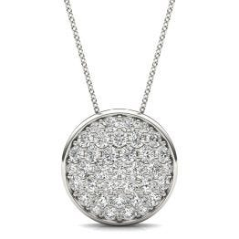 1 CTW Round Caydia Lab Grown Diamond Signature Pave Disc Necklace 18K White Gold