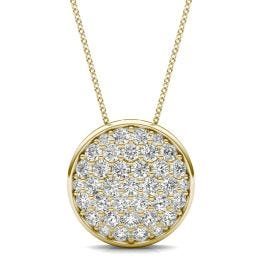 1 CTW Round Caydia Lab Grown Diamond Signature Pave Disc Necklace 18K Yellow Gold