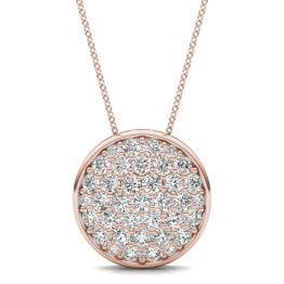 1 CTW Round Caydia Lab Grown Diamond Signature Pave Disc Necklace 18K Rose Gold