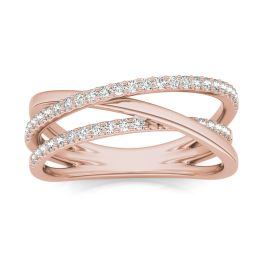 1/3 CTW Round Caydia Lab Grown Diamond Triple Crossover Ring 14K Rose Gold