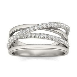 1/3 CTW Round Caydia Lab Grown Diamond Crossover Ring 14K White Gold