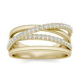 1/3 CTW Round Caydia Lab Grown Diamond Crossover Ring 14K Yellow Gold