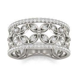 1/2 CTW Round Caydia Lab Grown Diamond Floret Fashion Ring 14K White Gold, SIZE 7.0 Stone Color F
