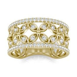 1/2 CTW Round Caydia Lab Grown Diamond Floret Fashion Ring 14K Yellow Gold, SIZE 7.0 Stone Color F