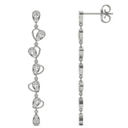 3/4 CTW Round Caydia Lab Grown Diamond Linear Drop Earrings 14K White Gold