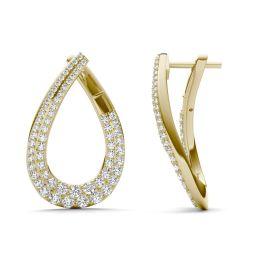 2 1/8 CTW Round Caydia Lab Grown Diamond Teardrop Wraparound Hoop Earrings 14K Yellow Gold