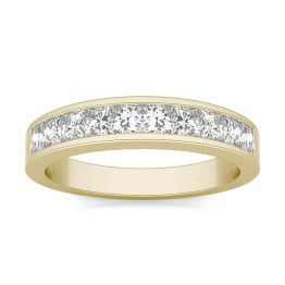1.00 CTW DEW Square Forever One Moissanite Channel Set Anniversary Band Ring 14K Yellow Gold