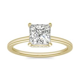 1 1/15 CTW Square Caydia Lab Grown Diamond Hidden Halo Solitaire Engagement Ring 14K Yellow Gold, SIZE 7.0 Stone Color E