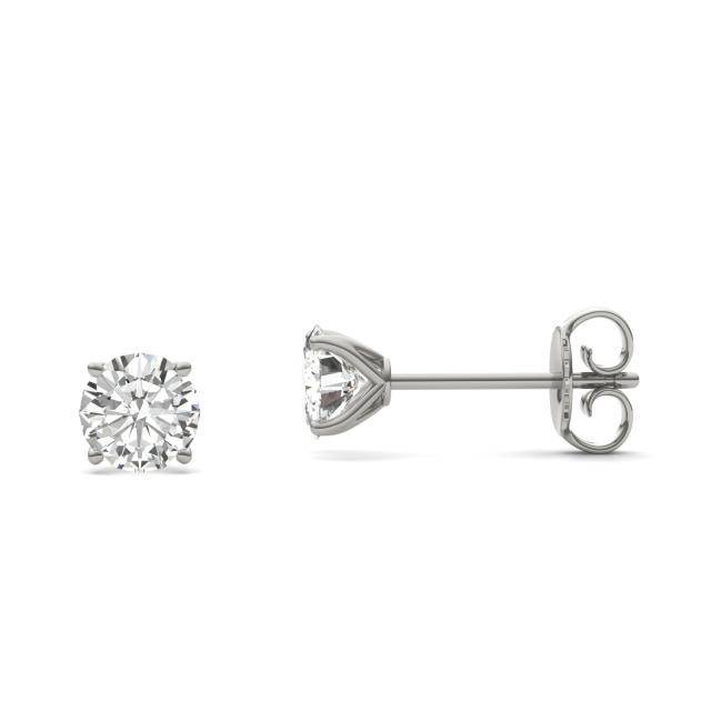 1.00 CTW DEW Round Forever One Moissanite Four Prong Martini Solitaire Stud Earrings in 14K White Gold