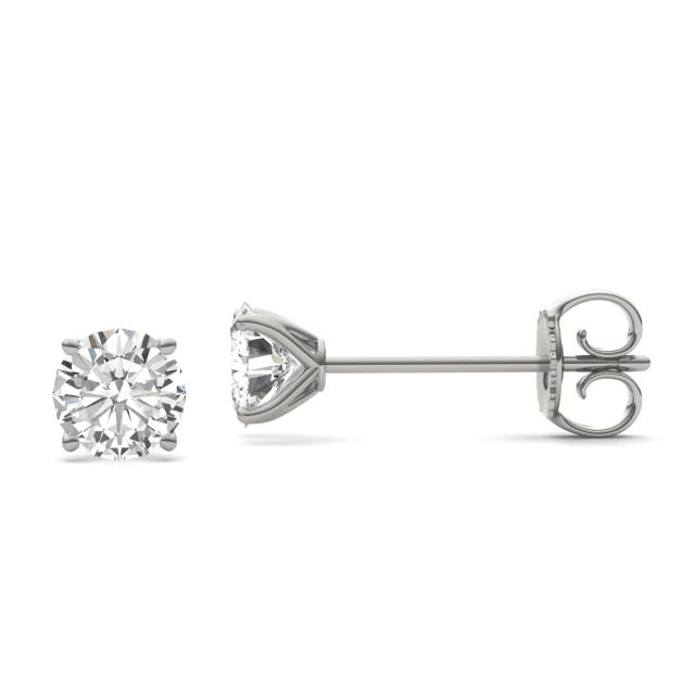 2.40 CTW DEW Round Forever One Moissanite Four Prong Martini Solitaire Stud Earrings in 14K White Gold