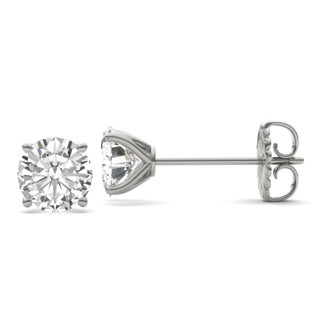 3.80 CTW DEW Round Forever One Moissanite Four Prong Martini Solitaire Stud Earrings in 14K White Gold