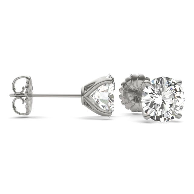 5.40 CTW Round Forever One Moissanite Four Prong Martini Solitaire Stud Earrings in 14K White Gold