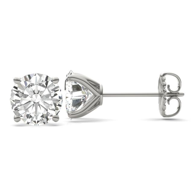7.20 CTW DEW Round Forever One Moissanite Four Prong Martini Solitaire Stud Earrings in 14K White Gold