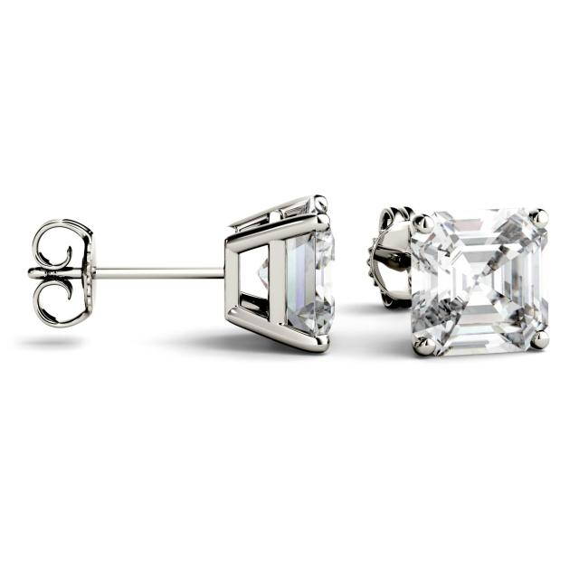 6.28 CTW Asscher Forever One Moissanite Four Prong Solitaire Stud Earrings in 14K White Gold
