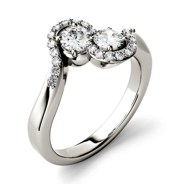 1.18 CTW DEW Round Forever One Moissanite Two Stone Bypass with Side Accents Ring in 14K White Gold