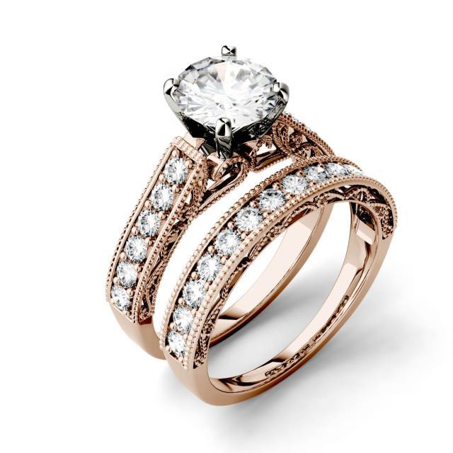 Forever One 1.78CTW Round Moissanite Channel Set Milgrain Bridal Set in 14K Rose Gold