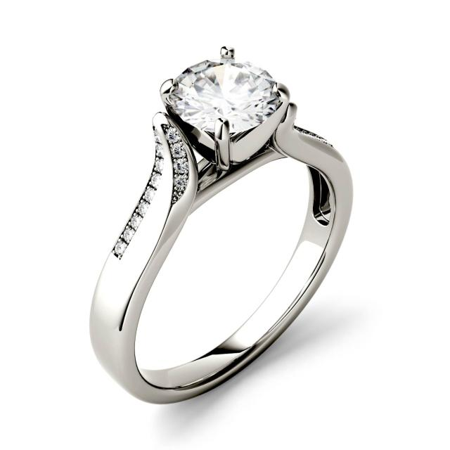Forever One 0.63CTW Round Moissanite Solitaire with Side Accents Engagement Ring in 14K White Gold