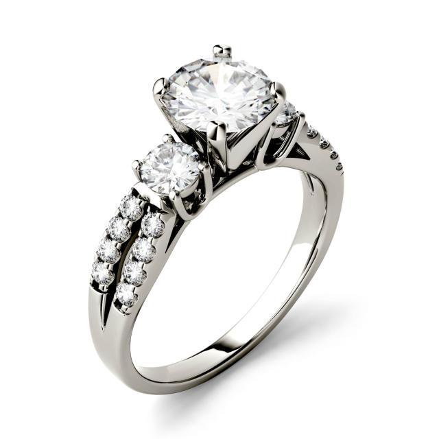 0.98 CTW DEW Round Forever One Moissanite Split Shank Three Stone Ring in 14K White Gold