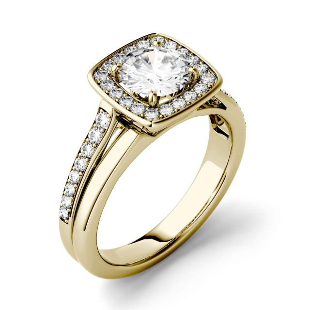 1.27 CTW DEW Round Forever One Moissanite Channel Set Halo with Side Accents Engagement Ring in 14K Yellow Gold