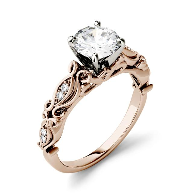 Forever One 1.07CTW Round Moissanite Solitaire with Side Accents Engagement Ring in 14K Rose Gold