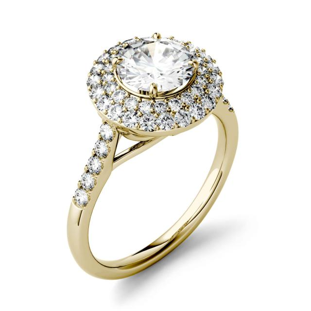 Forever One 1.68CTW Round Moissanite Double Halo Engagement Ring in 14K Yellow Gold