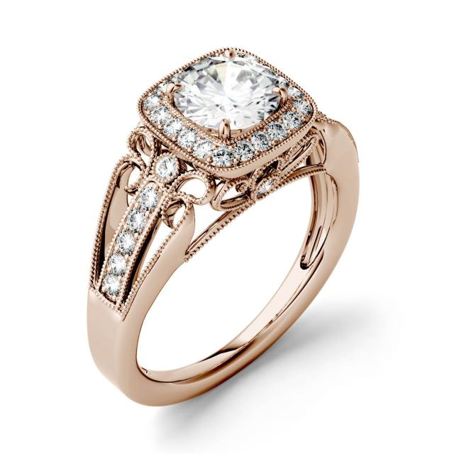 Forever One 1.28CTW Round Moissanite Milgrain Halo with Side Accents Engagement Ring in 14K Rose Gold
