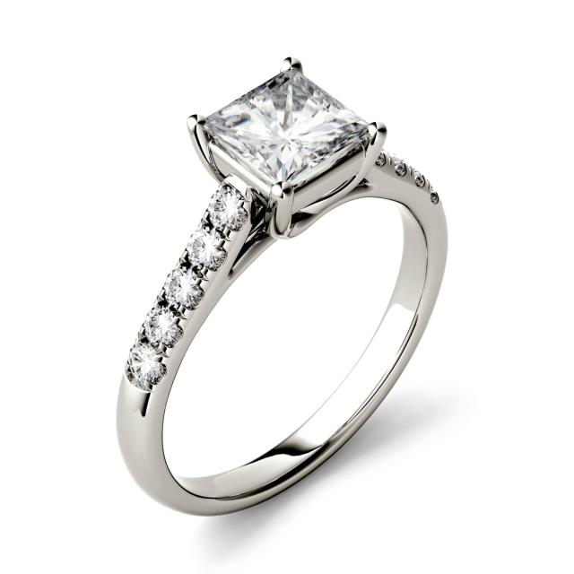 Forever One 1.75CTW Princess Moissanite Solitaire with Side Accents Ring in 14K White Gold