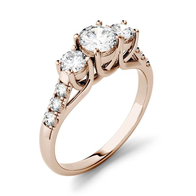 3.31 CTW DEW Round Forever One Moissanite Trellis Three Stone Ring in 14K Rose Gold