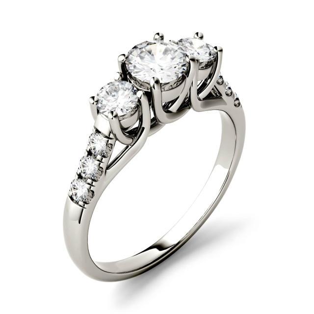 3.31 CTW DEW Round Forever One Moissanite Trellis Three Stone Ring in 14K White Gold