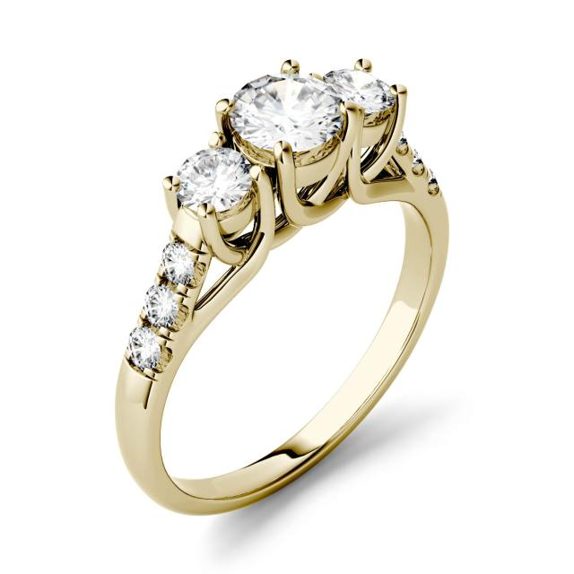 3.31 CTW DEW Round Forever One Moissanite Trellis Three Stone Ring in 14K Yellow Gold