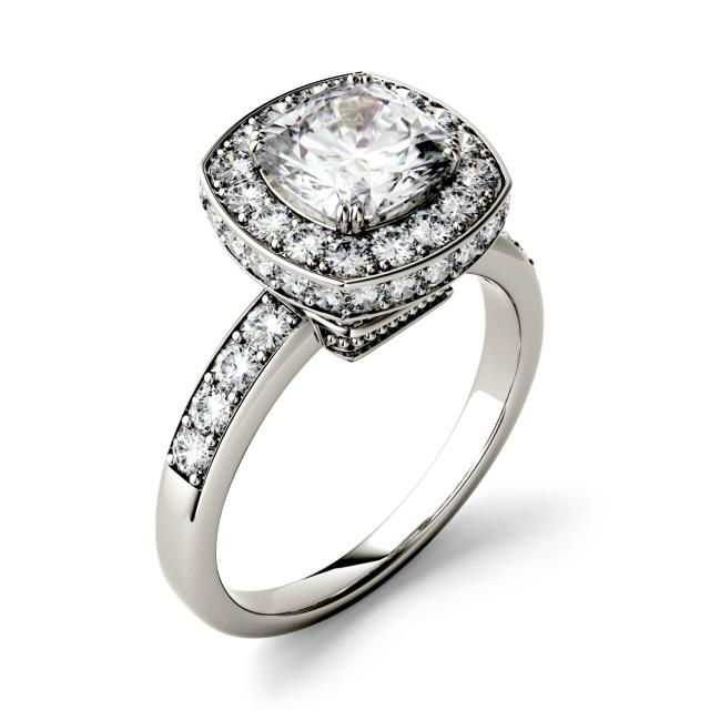 Forever One 3.04CTW Cushion Moissanite Engagement Ring with Hidden Halo in 14K White Gold