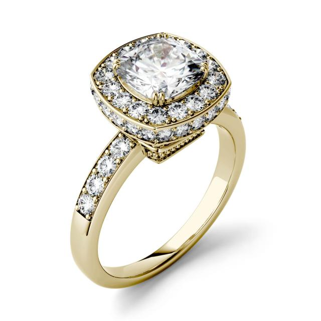 Forever One 3.04CTW Cushion Moissanite Engagement Ring with Hidden Halo in 14K Yellow Gold