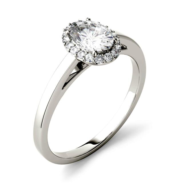 Forever One 1.66CTW Oval Moissanite Halo Engagement Ring in 14K White Gold