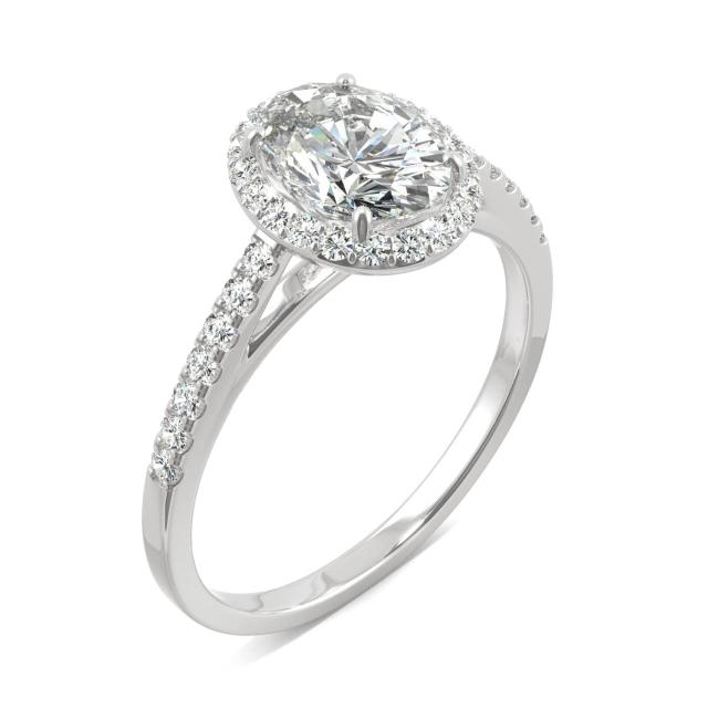 1.16 CTW DEW Oval Forever One Moissanite Halo with Side Accents Engagement Ring in 14K White Gold