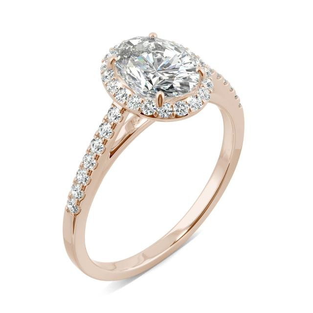 Forever One 1.77CTW Oval Moissanite Halo with Side Accents Engagement Ring in 14K Rose Gold