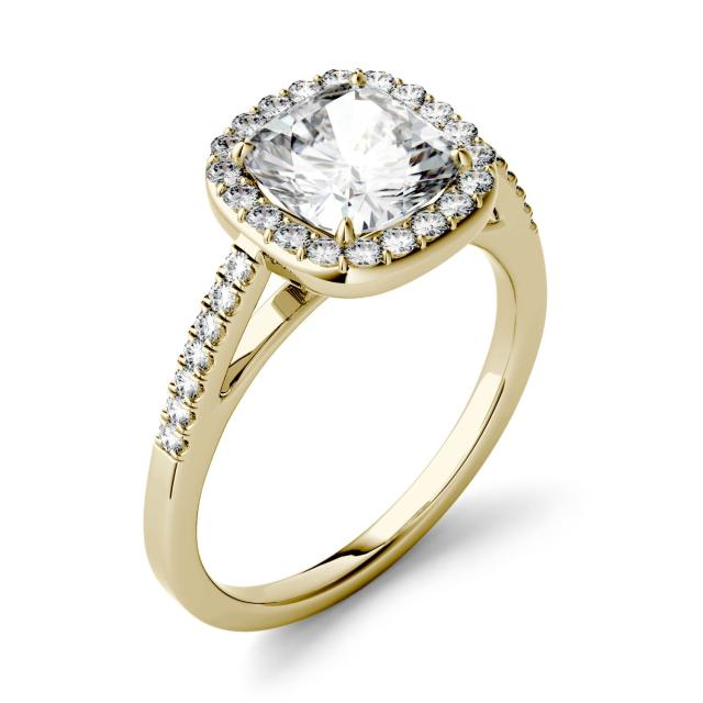 Forever One 1.97CTW Cushion Moissanite Halo with Side Accents Engagement Ring in 14K Yellow Gold