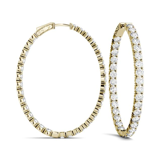 2.20 CTW Round Forever One Moissanite Oval Hoop Earrings in 14K Yellow Gold