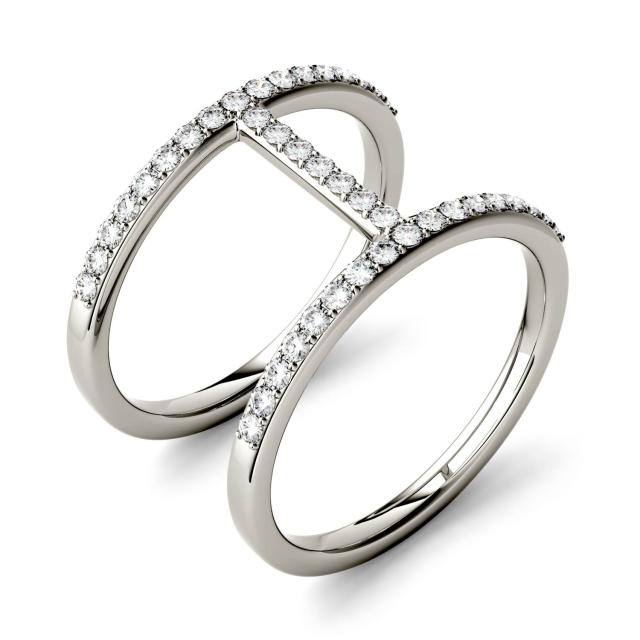 Forever One 0.41CTW Round Moissanite Double Band Geometric Fashion Ring in 14K White Gold